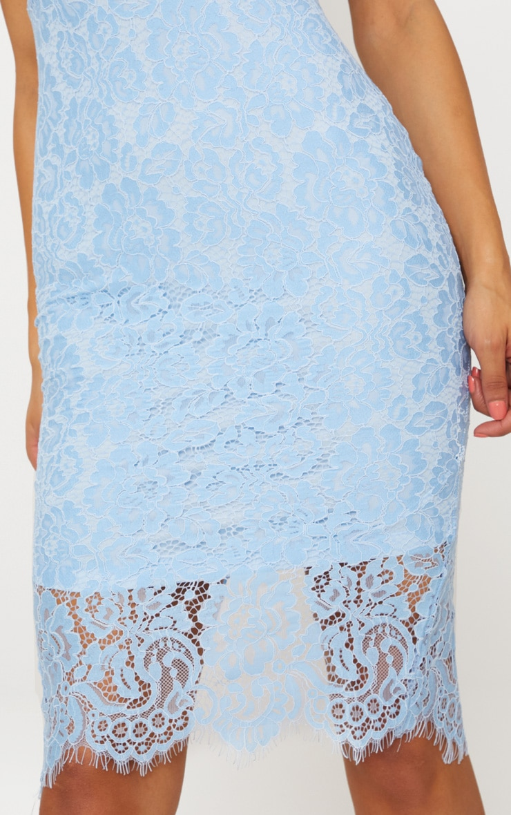 Pale Blue Lace Plunge Midi Dress  5