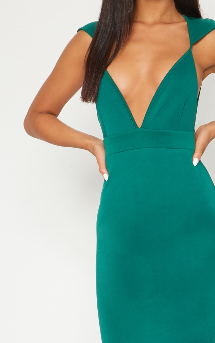 Emerald Green Extreme Plunge Shoulder Detail Fishtail Maxi Dress 4