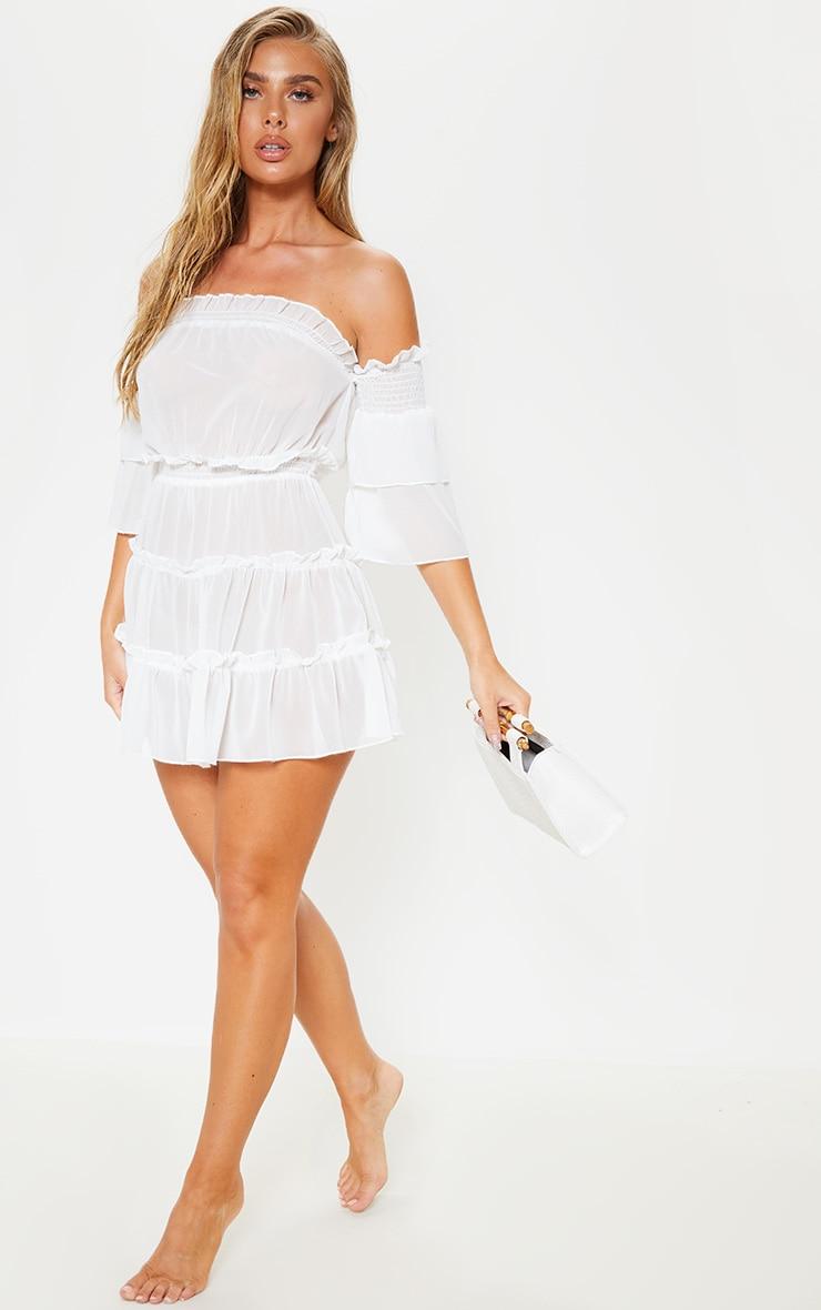 فستان شاطئ بكتف ساقط أبيض مع طيات 4