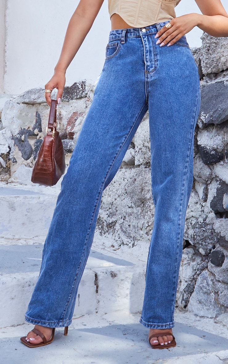 Mid Blue Wash Long Leg Straight Jeans 2