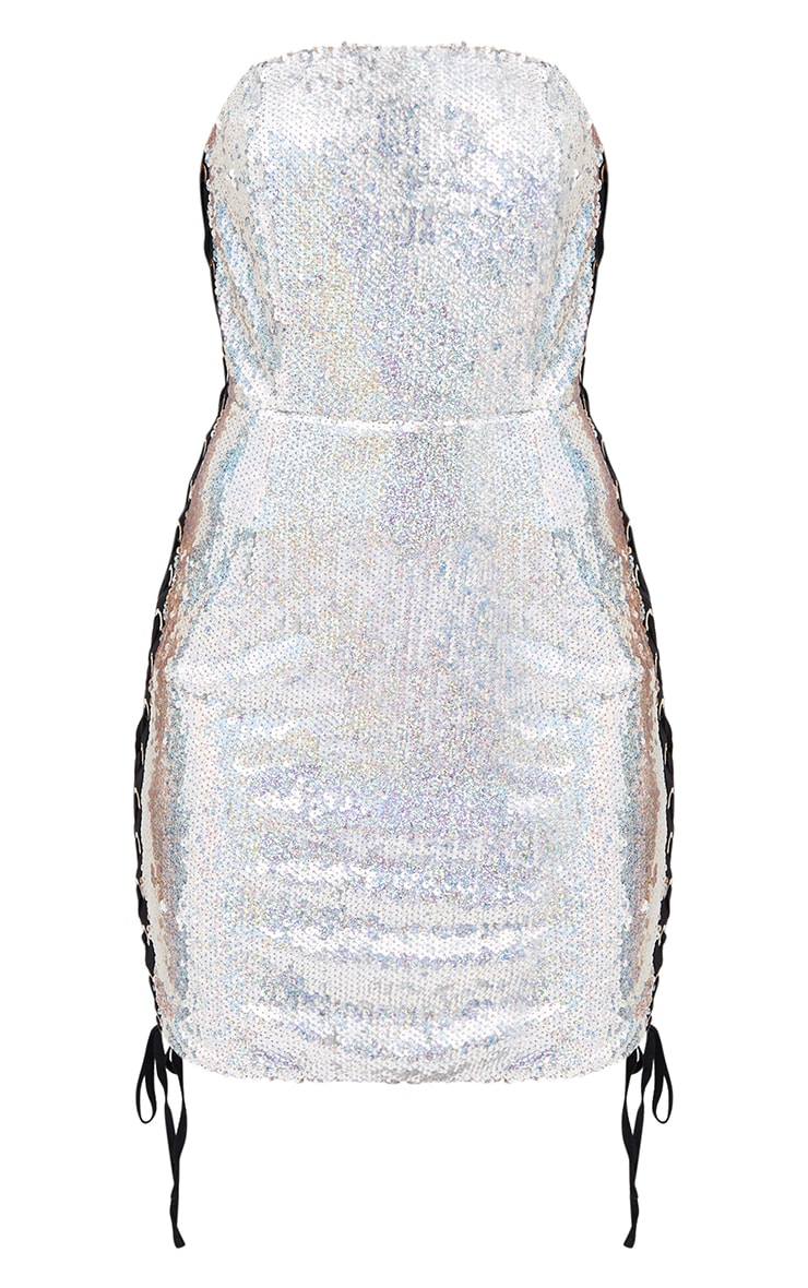 Silver Lace Up Sequin Bandeau Bodycon Dress 3