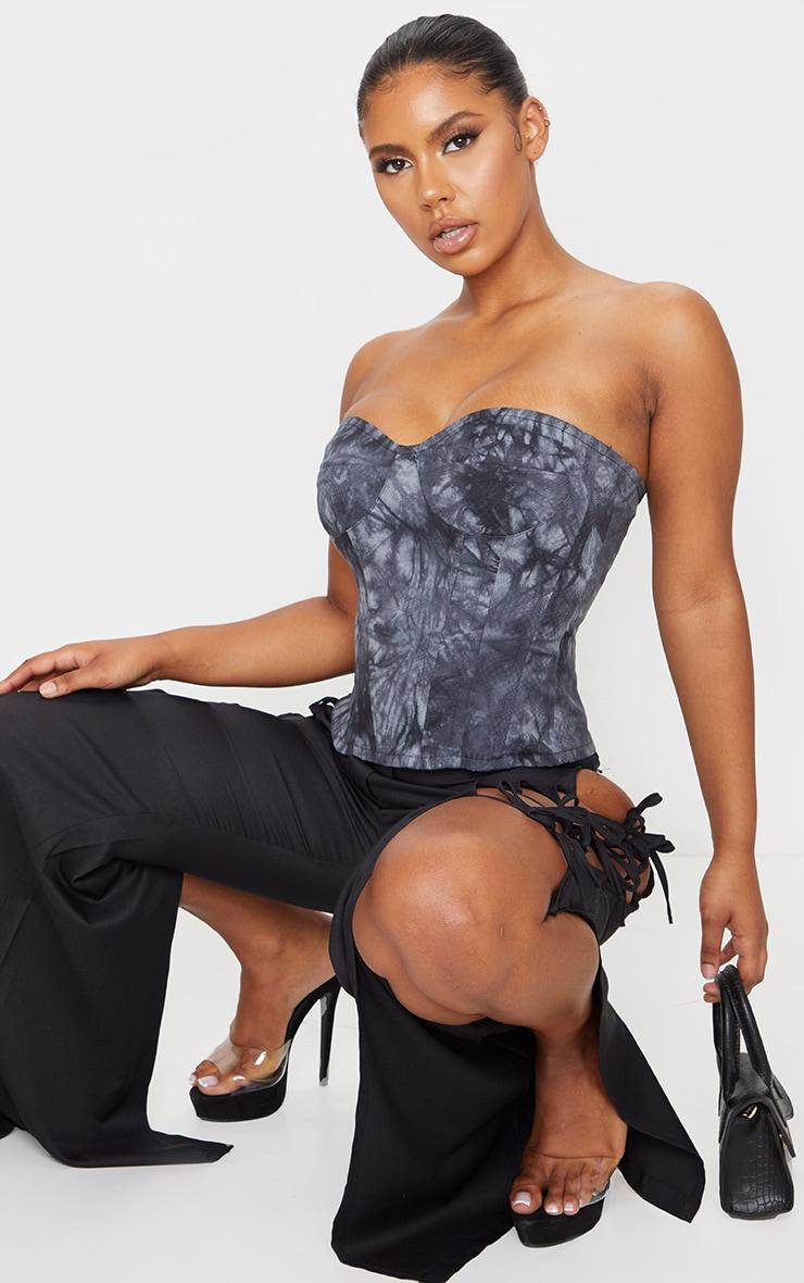 Black Tie Dye Print Woven Corset 4