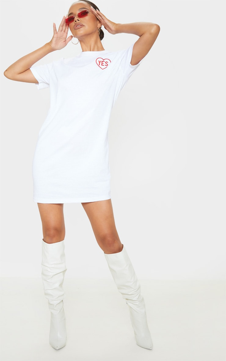 White Yes Slogan Embroidered Oversized T Shirt Dress 4