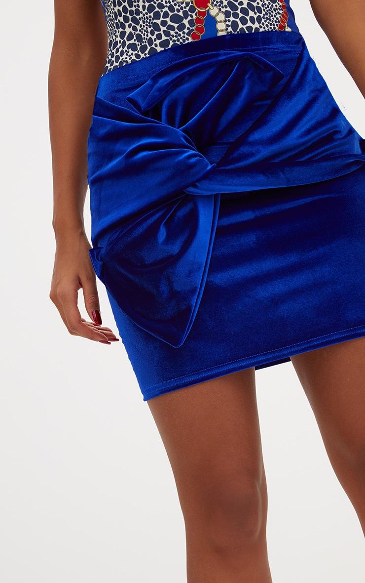 Cobalt Velvet Bow Mini Skirt 6