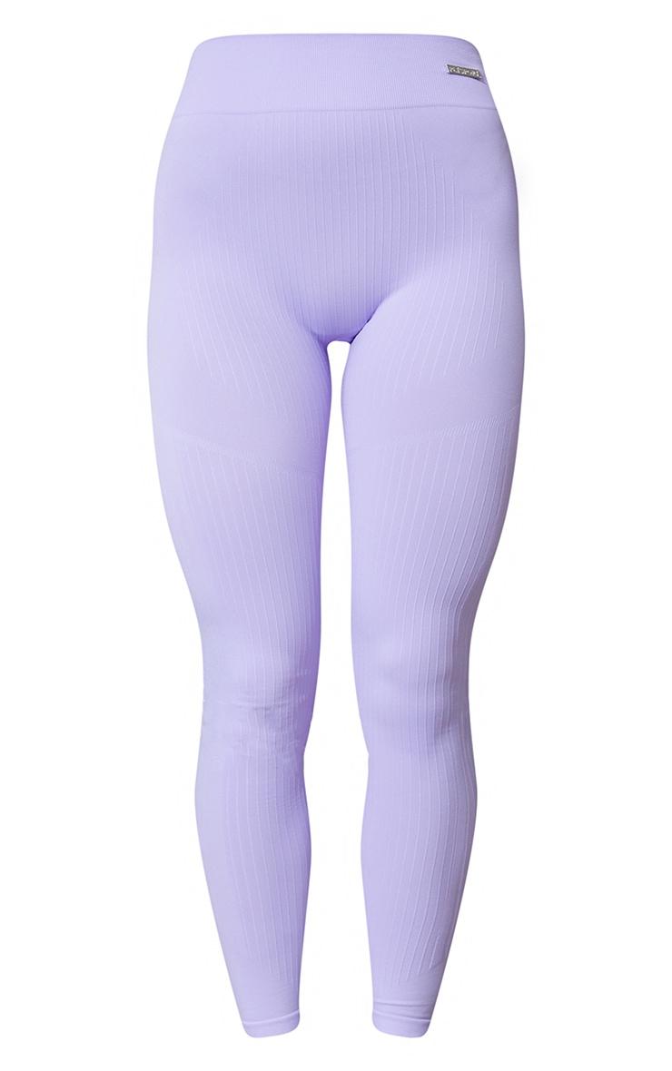 Lilac Seamless Rib High Waisted Gym Leggings 5