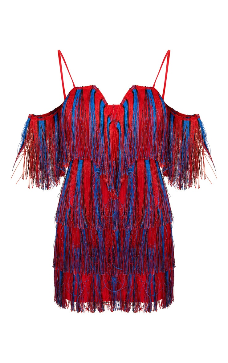 Red Stripe Tassel Bardot V Plunge Bodycon Dress 3