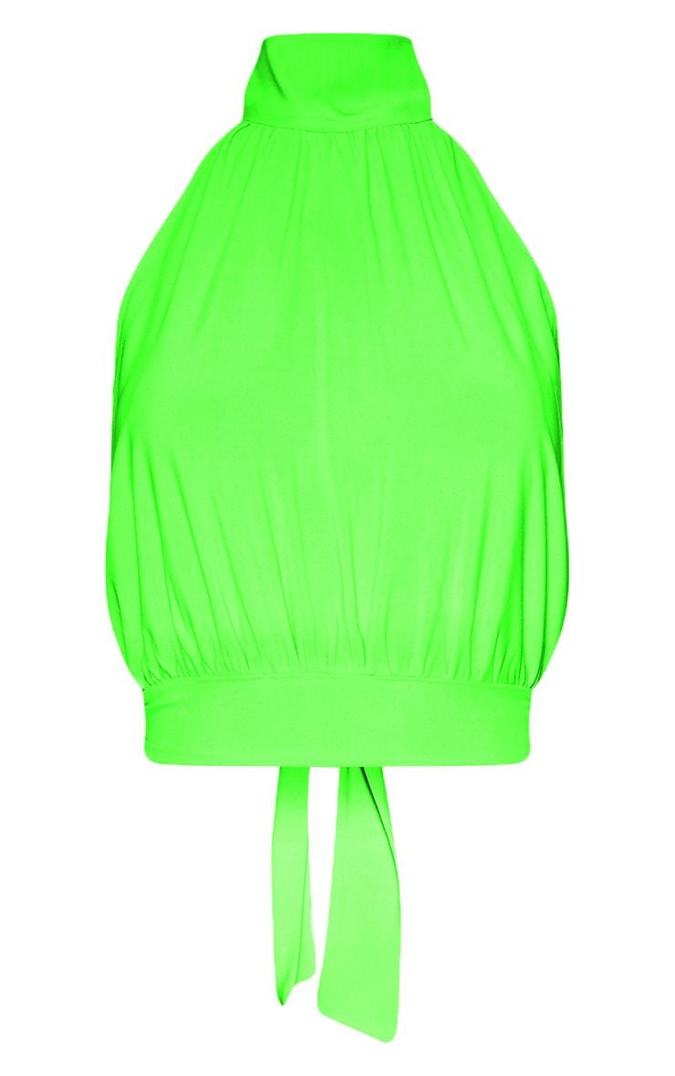 Neon Lime Slinky Halterneck Backless Crop Top 3