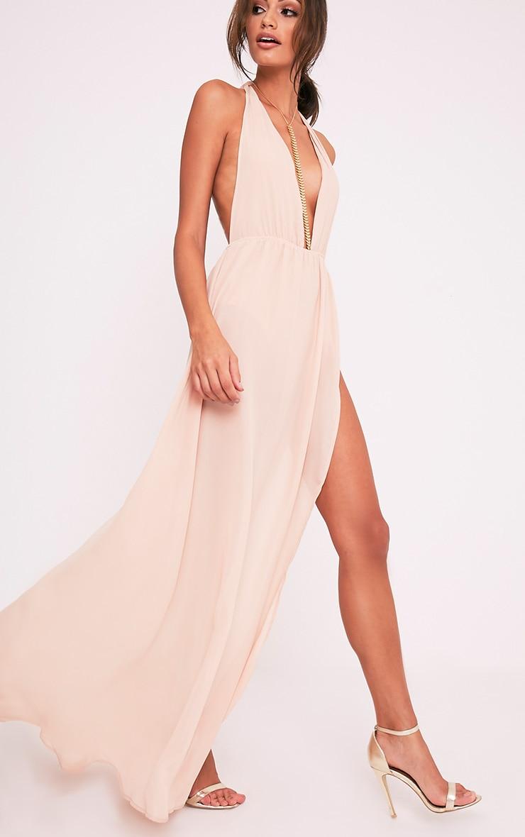 Alina Nude Plunge Maxi Dress 5