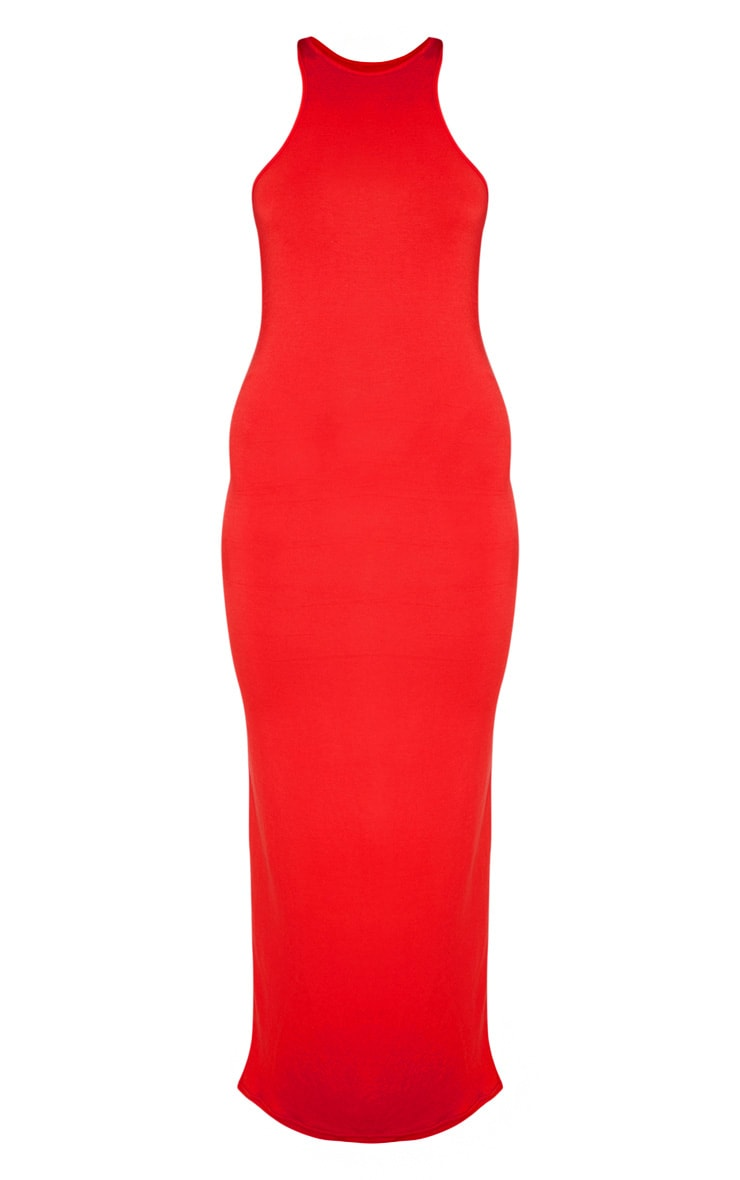 Red Jersey High Neck Maxi Dress 3