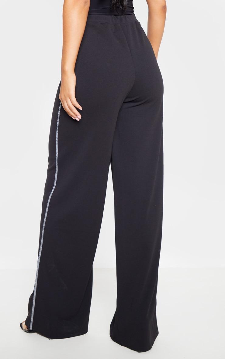 Black Crepe Contrast Stitch Wide Leg Pants 4