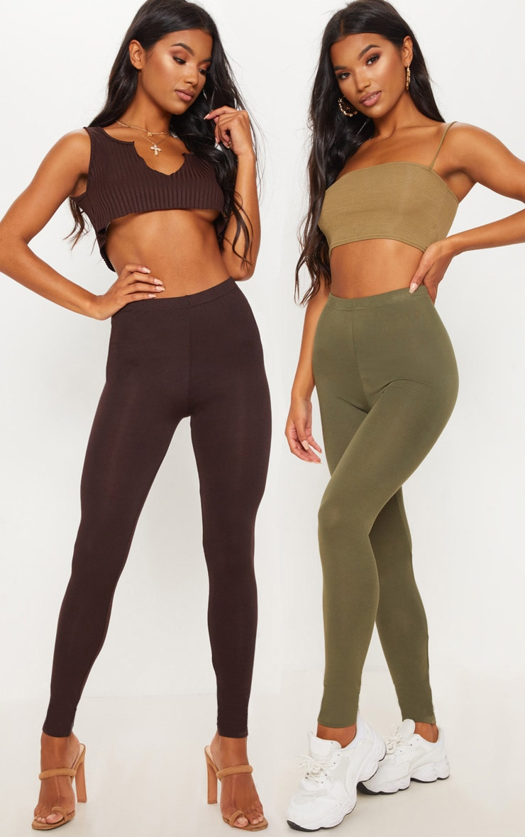Khaki & Chocolate Basic Jersey Leggings 2 Pack 1