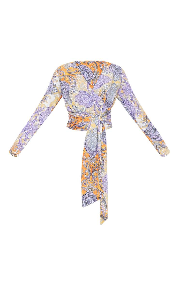 Multi Paisley Printed Wrap Tie Blouse 5