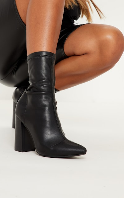 Black PU Block Heel Point Toe Sock Boot
