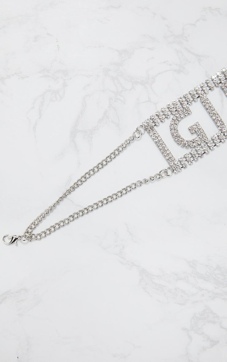 Silver Diamante Girls Slogan Choker 4