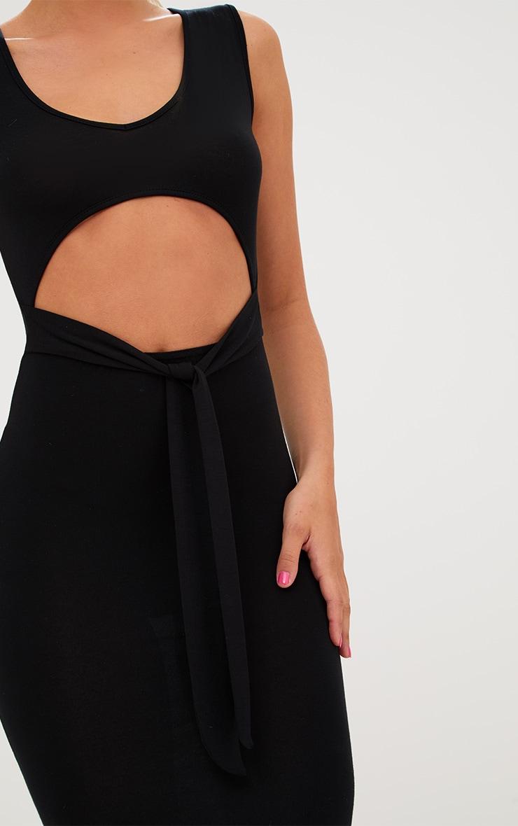 Black Cut Out Tie Front Midi Dress 5