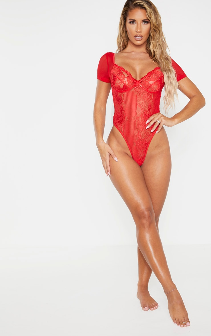 Red Short Sleeve Lace Insert High Leg Cupped Body 3