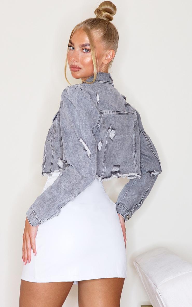 Washed Grey Ruched Sleeve Cropped Denim Jacket 2