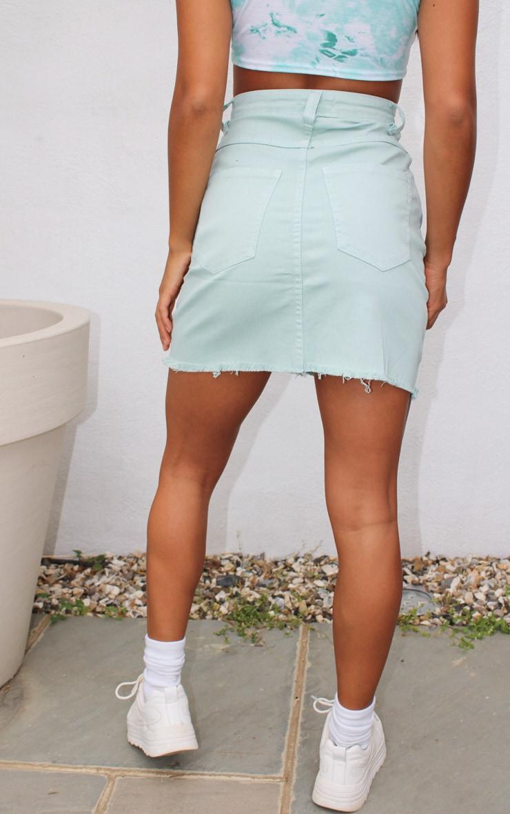 Petite Mint Distressed Hem Skirt 3