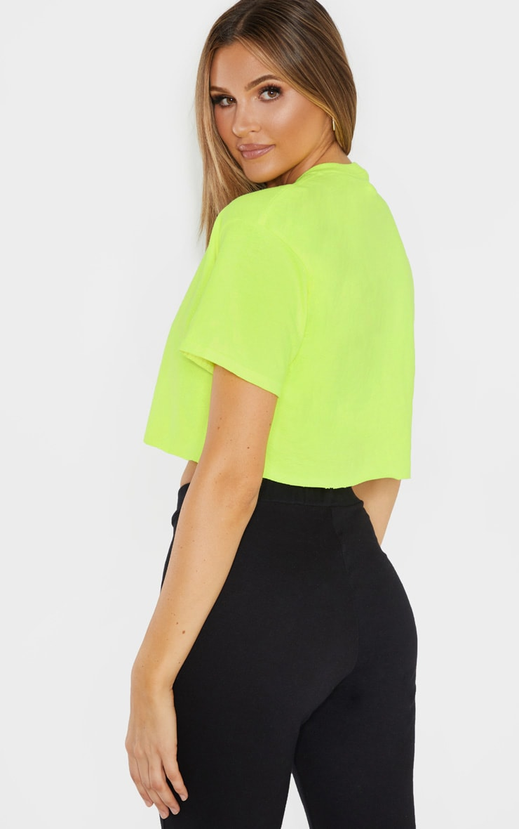 PRETTYLITTLETHING Tall Neon Lime Slogan Cropped T-Shirt 2