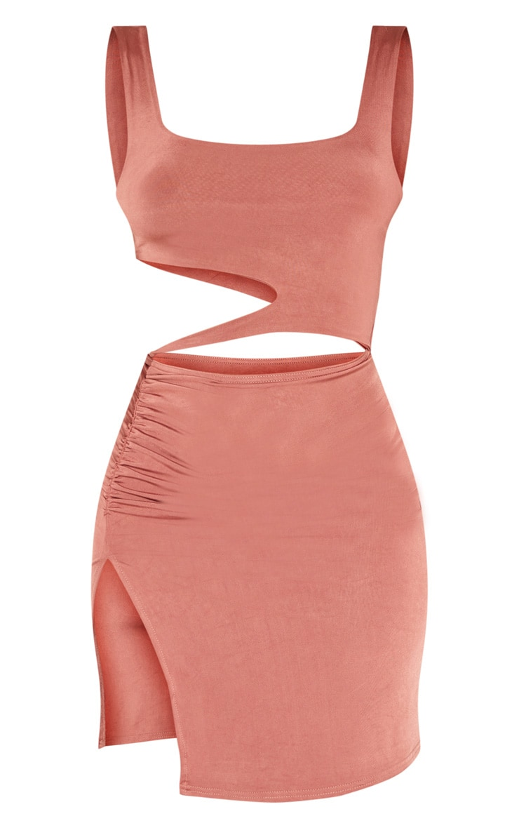 Terracotta Slinky Cut Out Ruched Detail Split Front Bodycon Dress 3