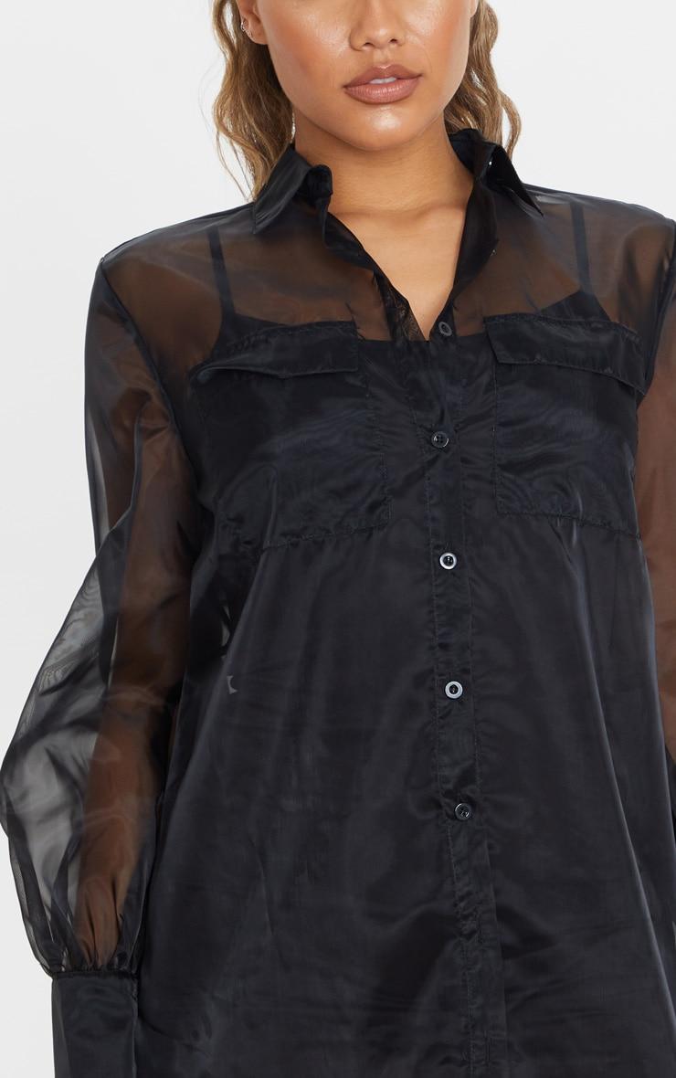 Black Organza Pocket Detail Long Sleeve Shirt Dress 6