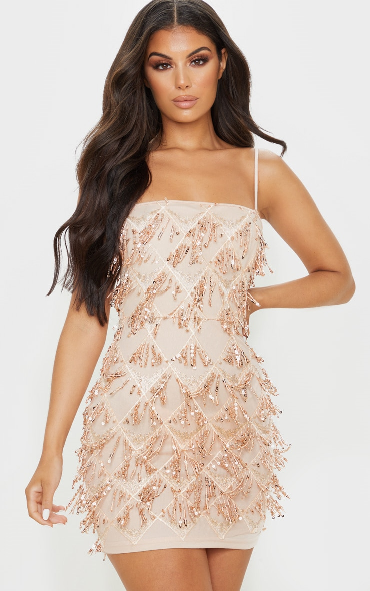 Nude Sequin Strappy Square Neck Bodycon Dress 1