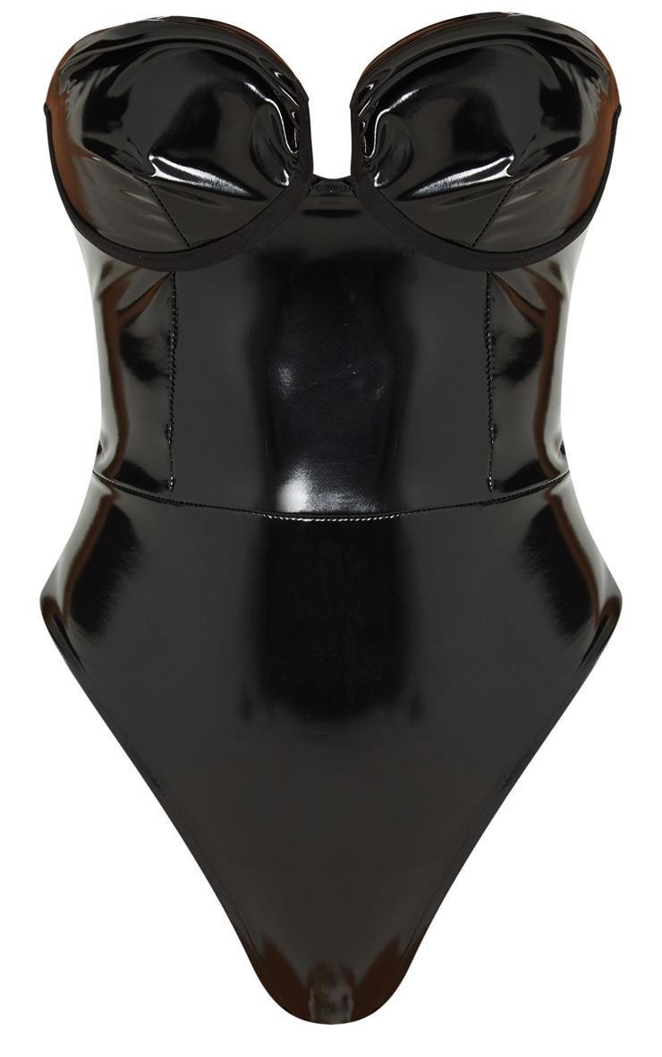 Black Vinyl Cup Detail Bodysuit 3