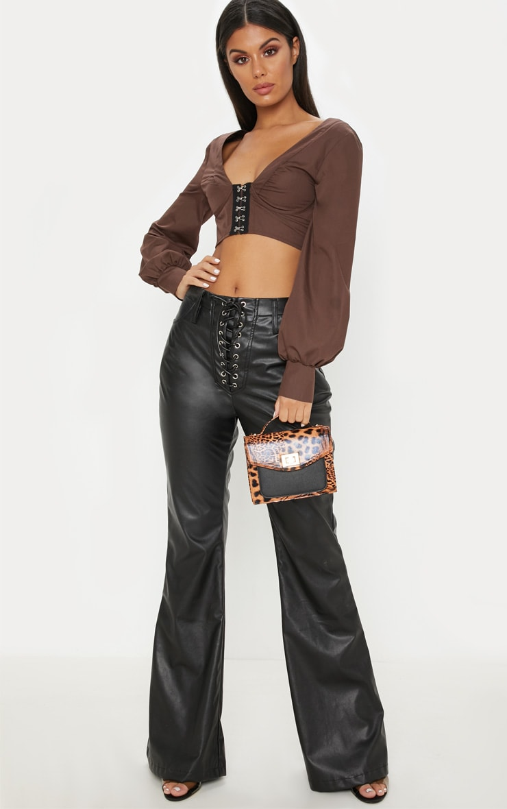 Chocolate Hook and Eye Plunge Long Sleeve Crop Top 4