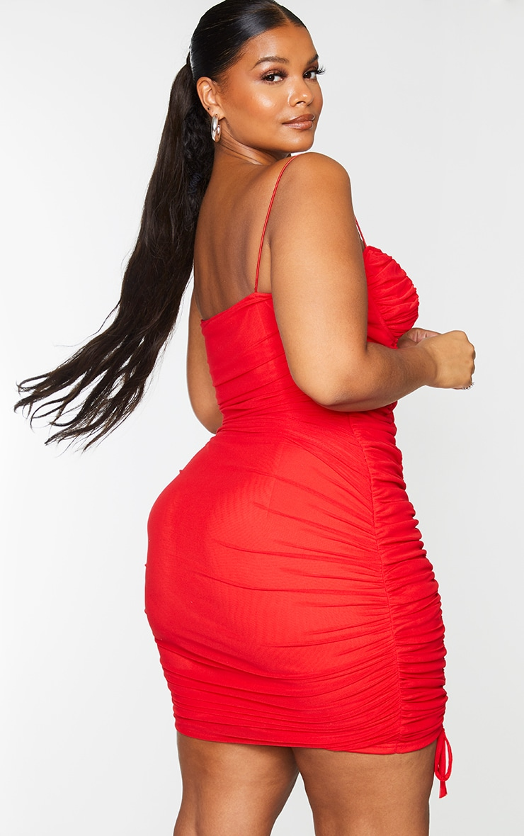 Plus Red Mesh Cup Detail Ruched Spaghetti Strap Bodycon Dress 2
