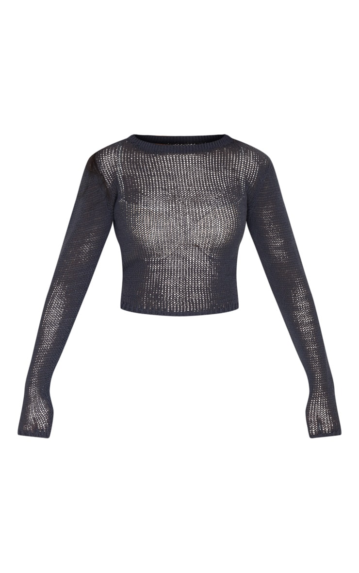 Charcoal Fine Knit Long Sleeve Top 5