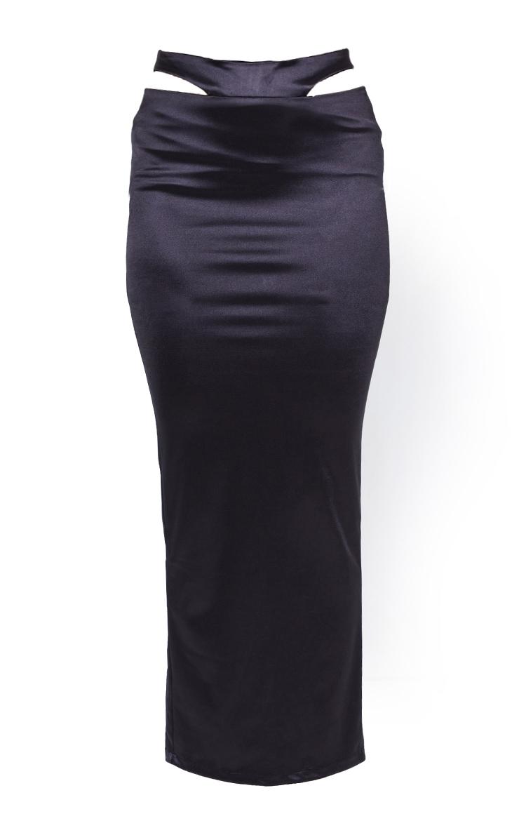 Black Stretch Satin Cut Out Hip Split Back Midaxi Skirt 6