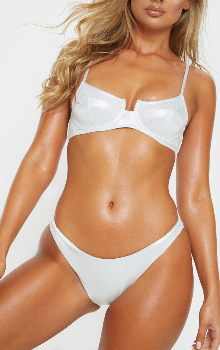 Silver Glitter Mini Front Bikini Bottom 1