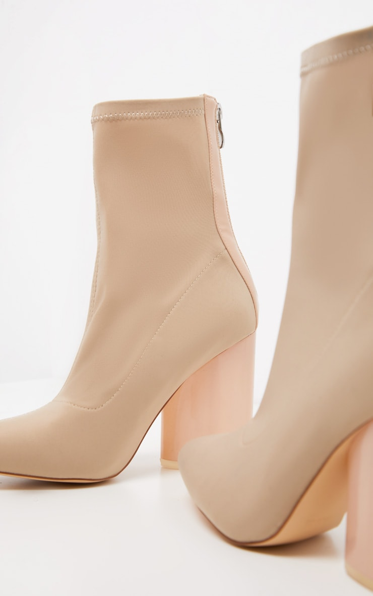 Nude Round Clear Heel Sock Boot 3