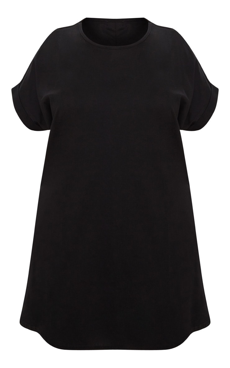 Plus Black Oversized Roll Sleeve T-Shirt Dress 3