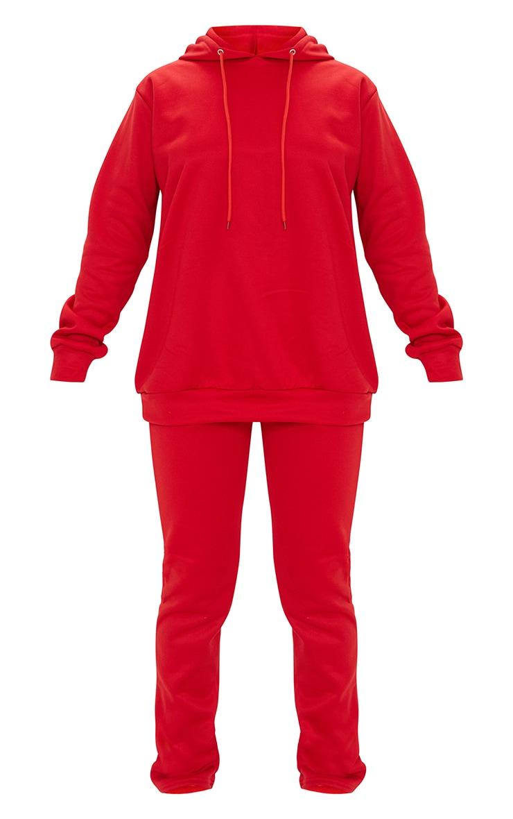 Red Oversized Sweat Hoodie & Straight Leg Jogger Set 5