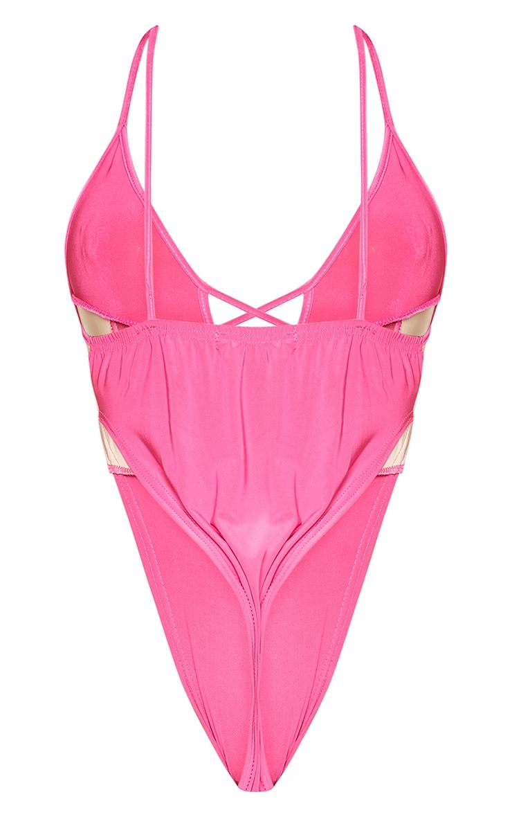 Shape Hot Pink Mesh Panel Detail Lace Up Bodysuit 6