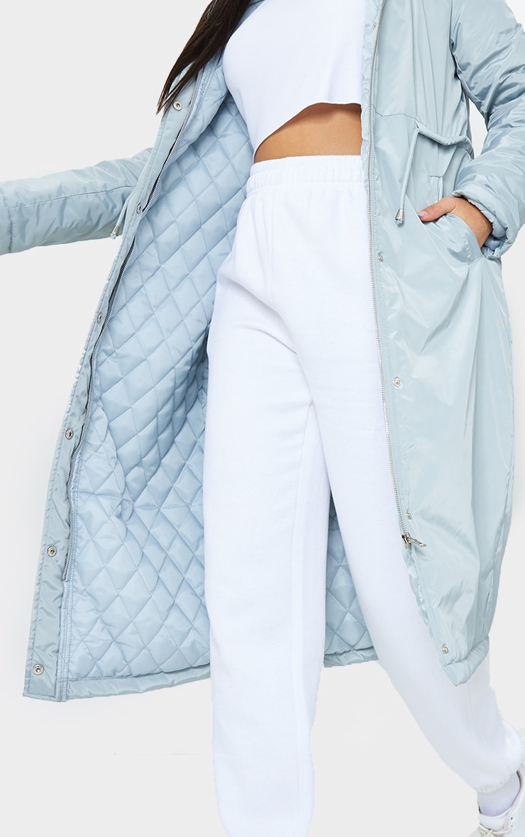 Grey Nylon Toggle Waist Maxi Hooded Parka Jacket 4