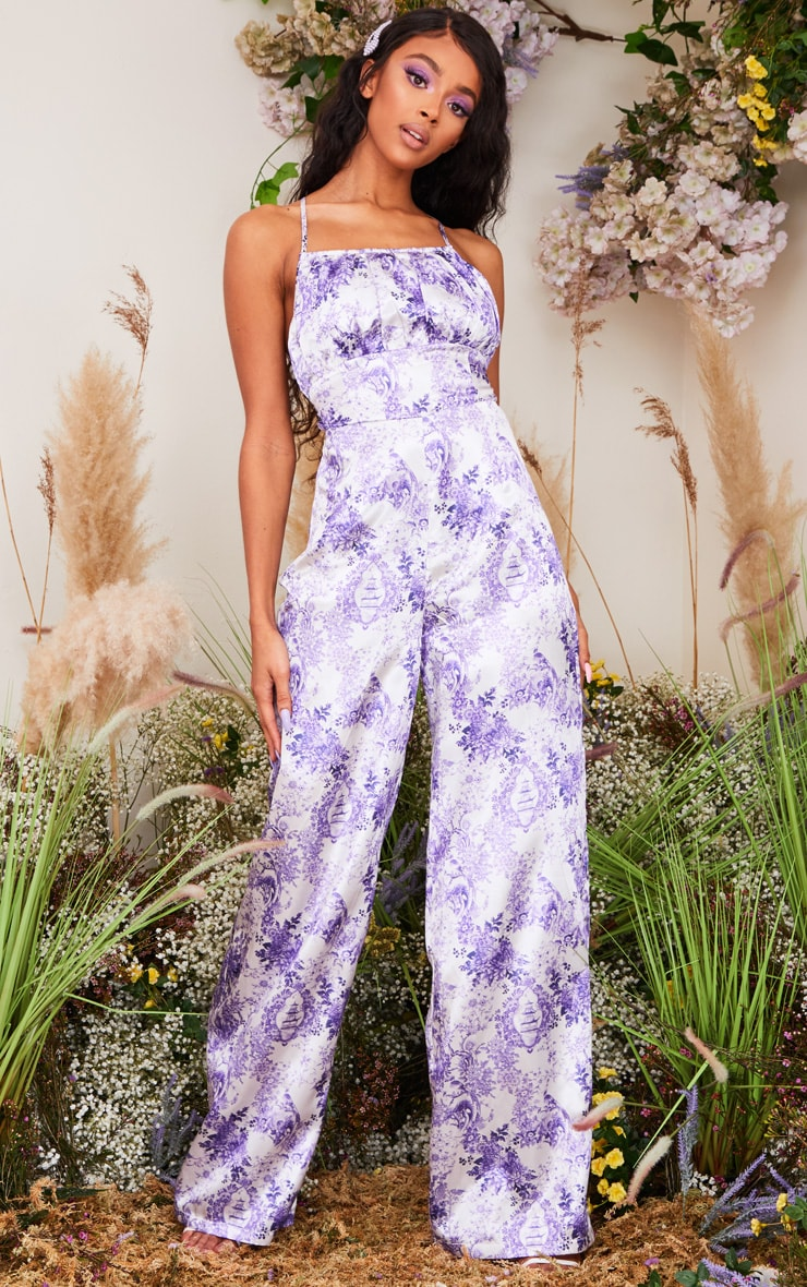 Lilac Porcelain Print Strappy Back Satin Jumpsuit