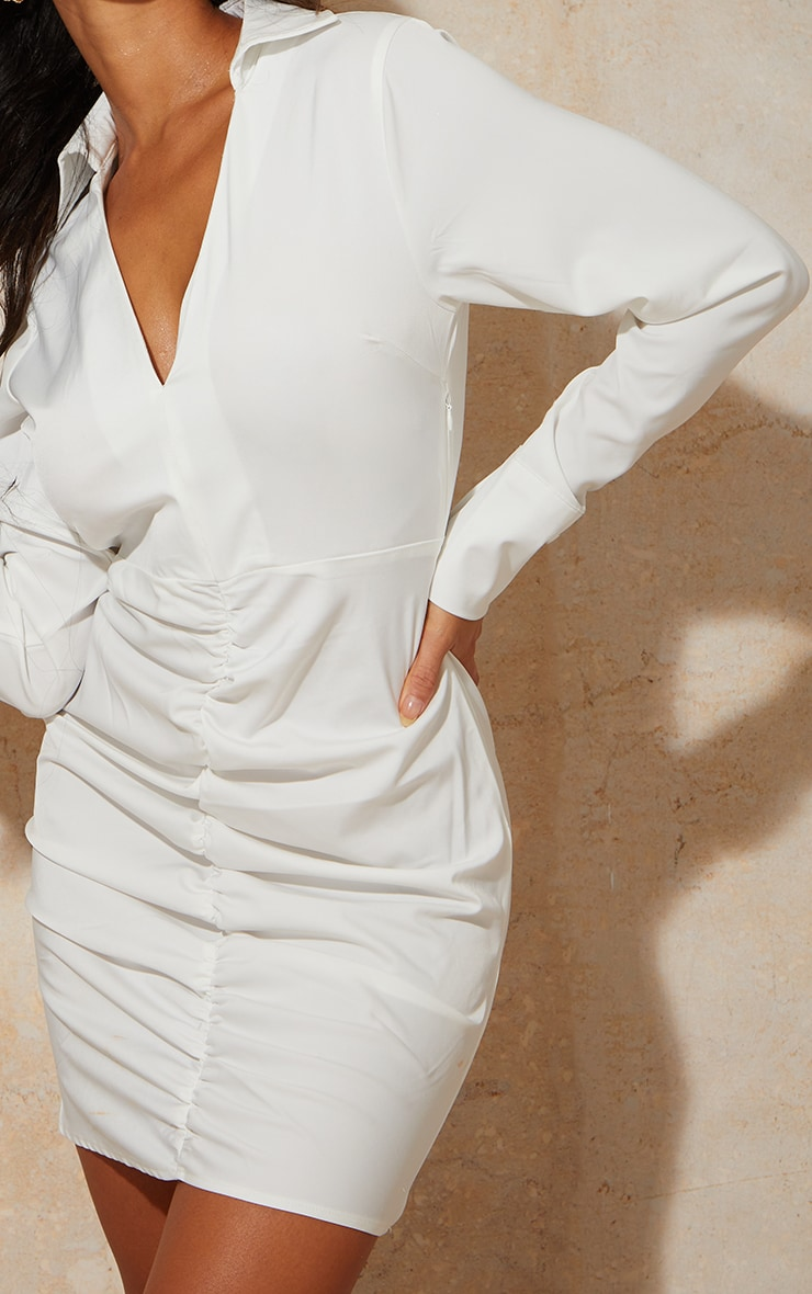 White Woven Long Sleeve Ruched Detail Shirt Dress 4