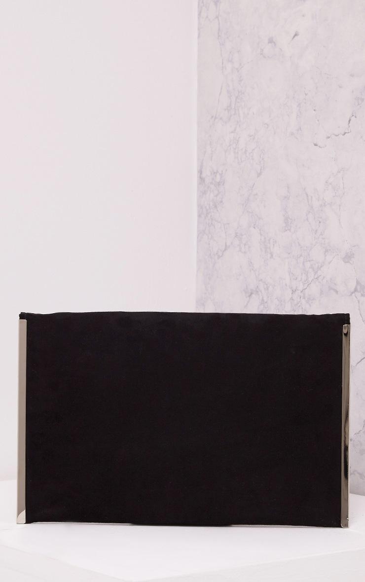 Tassa Black Faux Suede Envelope Clutch Bag 3