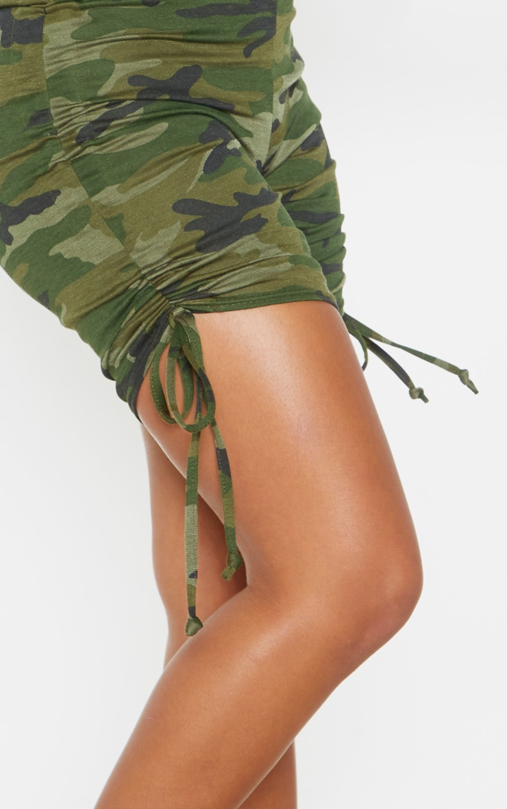 Khaki Camo Print Ruched Side Cycle Short 6