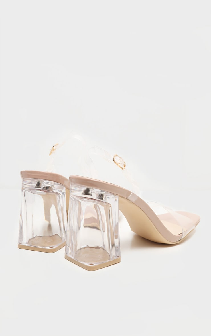 Nude Clear Block Heel Strappy Sandal 4