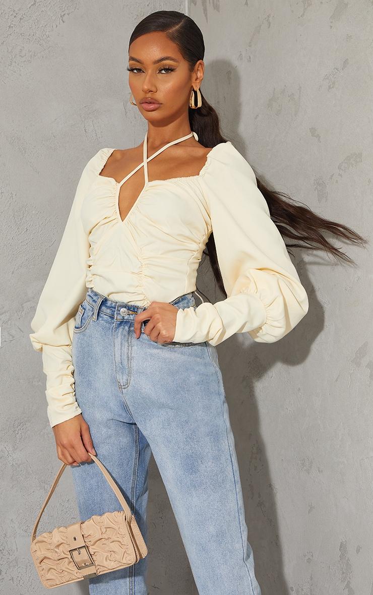 Cream Woven Halterneck Long Sleeve Bodysuit 1