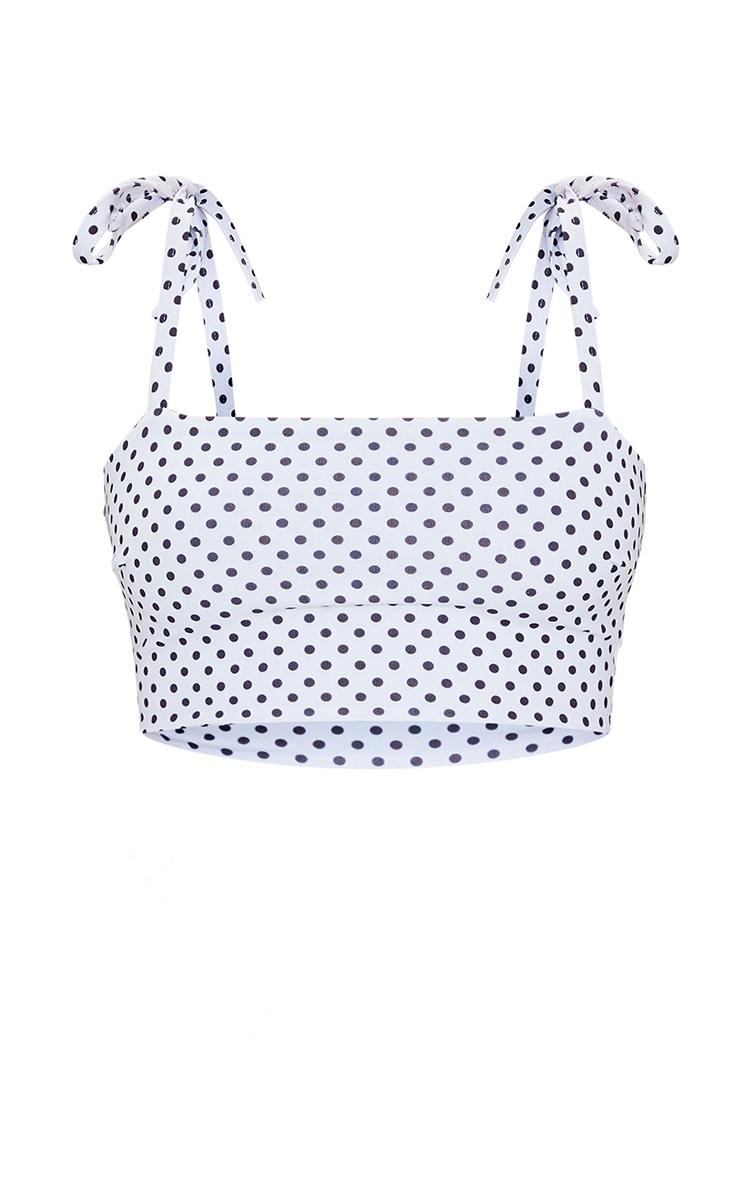 Petite White Polka Dot Tie Strap Bikini Top 5