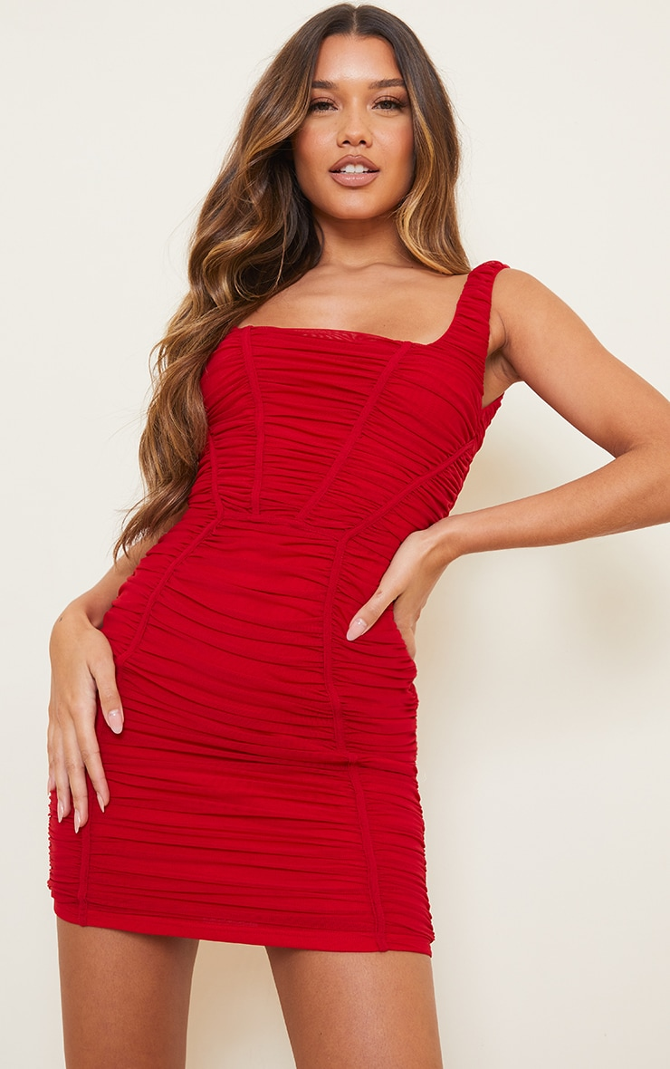 Red Square Neck Mesh Ruched Binding Detail Bodycon Dress 1