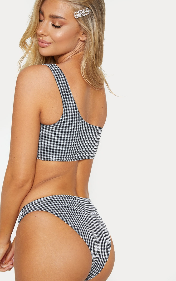 Black Textured Gingham One Shoulder Bikini Top 2