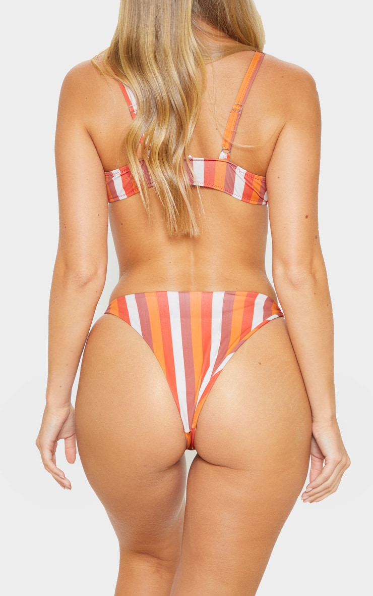 Orange Stripe Ring Detail Thong Bikini Bottom 6