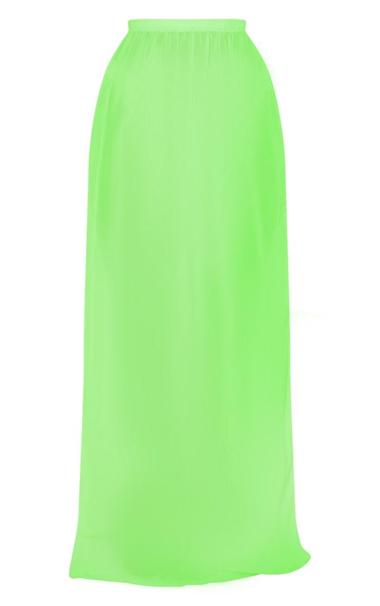 Neon Lime Chiffon Split Side Maxi Skirt 3