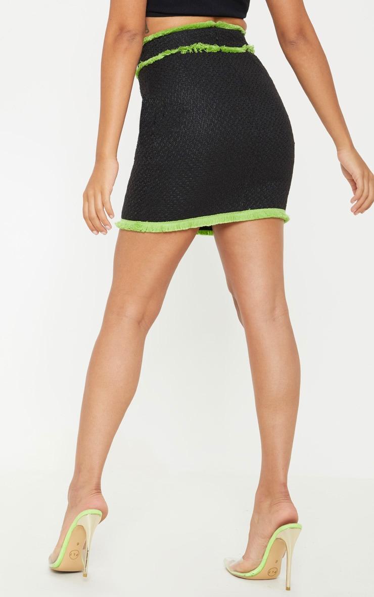 Petite Black Boucle Fringed Mini Skirt 4