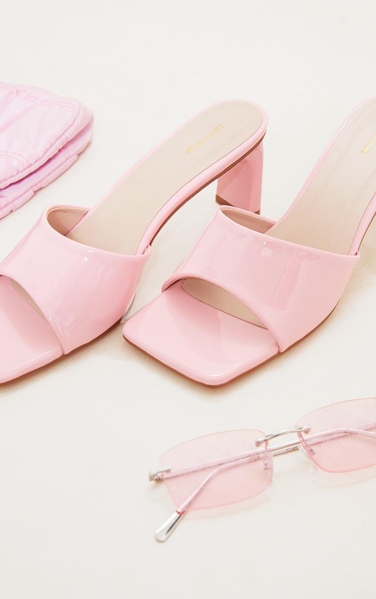 Pink PU Patent Square Toe Flat Heeled Mules 4